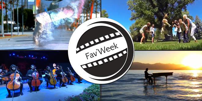 Fav'Week : Dubstep Piano sur l'eau, Skate Poudre de couleurs, Matrix Puppies, ThePianoGuys Live