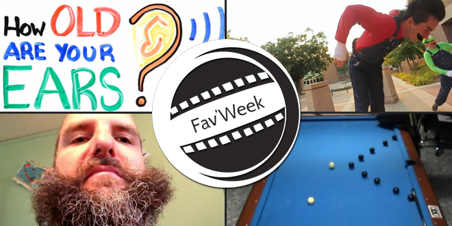 Fav'Week : Super Mario Parkour,  Insane Pool Trickshots, Barbe magique, Hearing Test