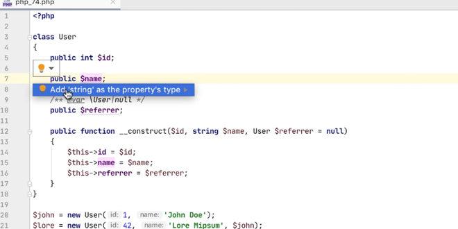 Mise à jour PHP 7.4 avec PhpStorm